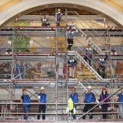 Byggställning uppförd på nationalmuseum för renovering
