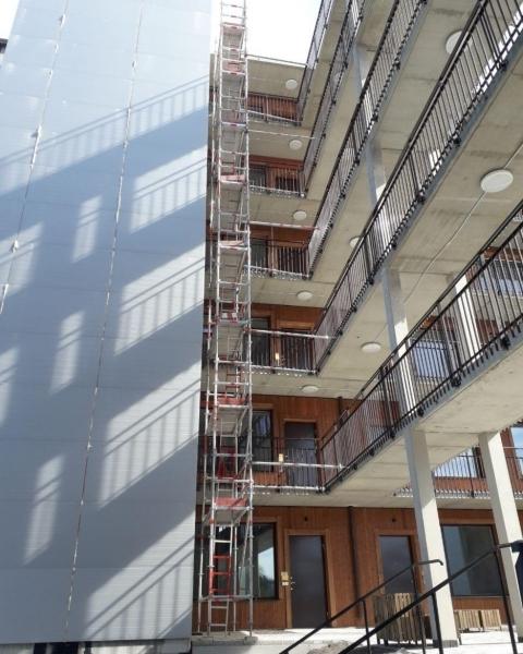 Byggställning i Täby