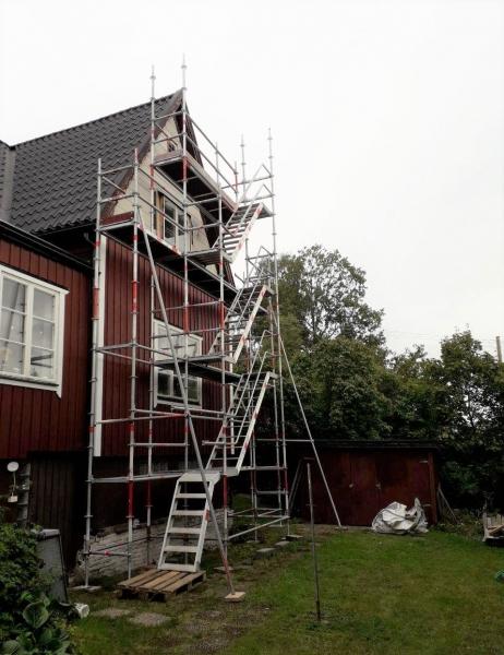Byggnadsställning i Stockholm